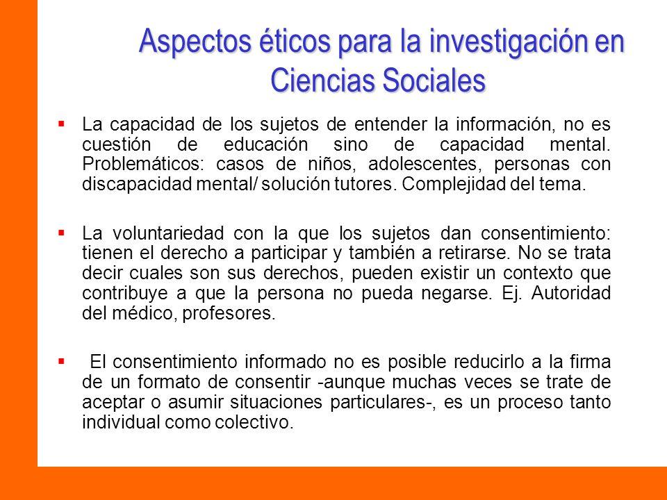 Aspectos éticos para la investigación en Ciencias Sociales