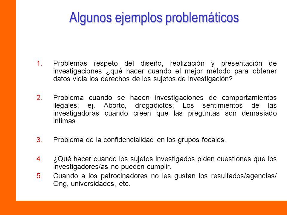 Algunos ejemplos problemáticos