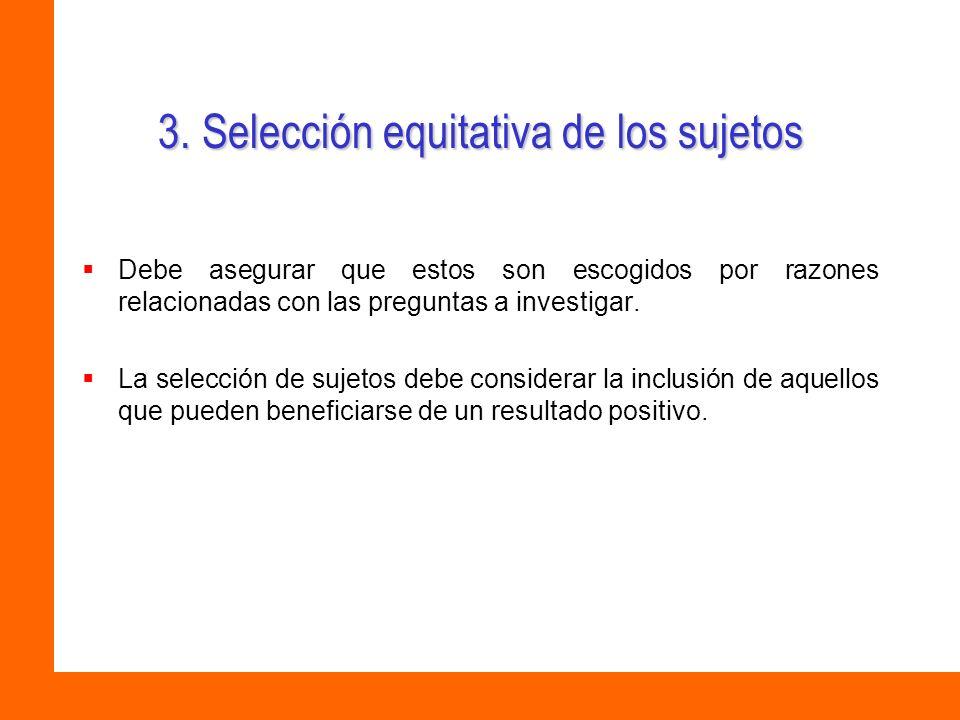 3. Selección equitativa de los sujetos
