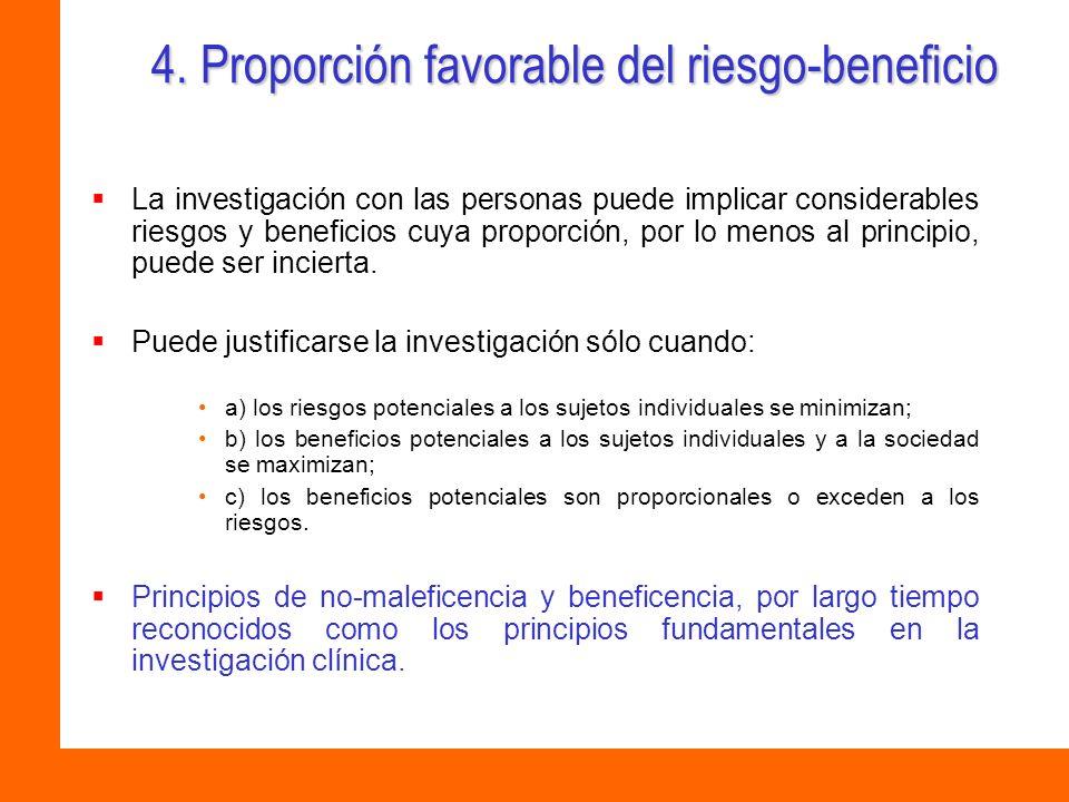 4. Proporción favorable del riesgo-beneficio