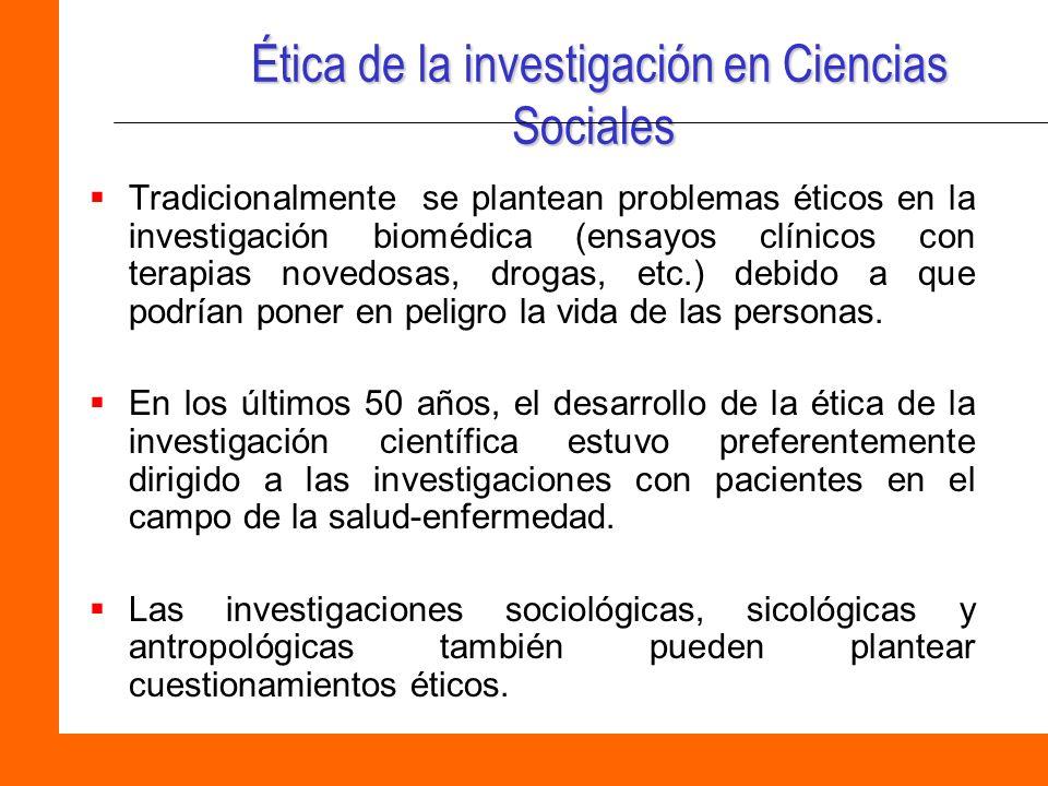 Ética de la investigación en Ciencias Sociales
