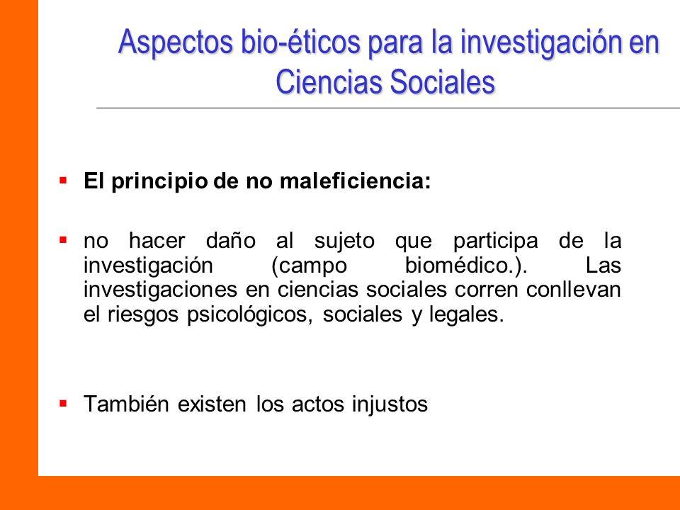 Aspectos bio-éticos para la investigación en Ciencias Sociales