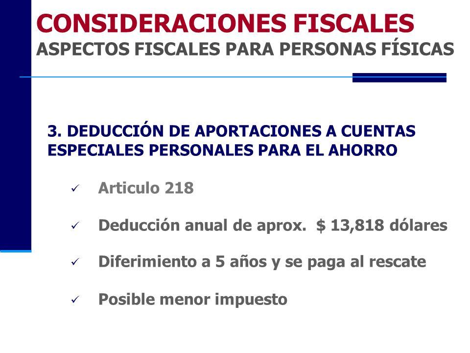 CONSIDERACIONES FISCALES ASPECTOS FISCALES PARA PERSONAS FÍSICAS