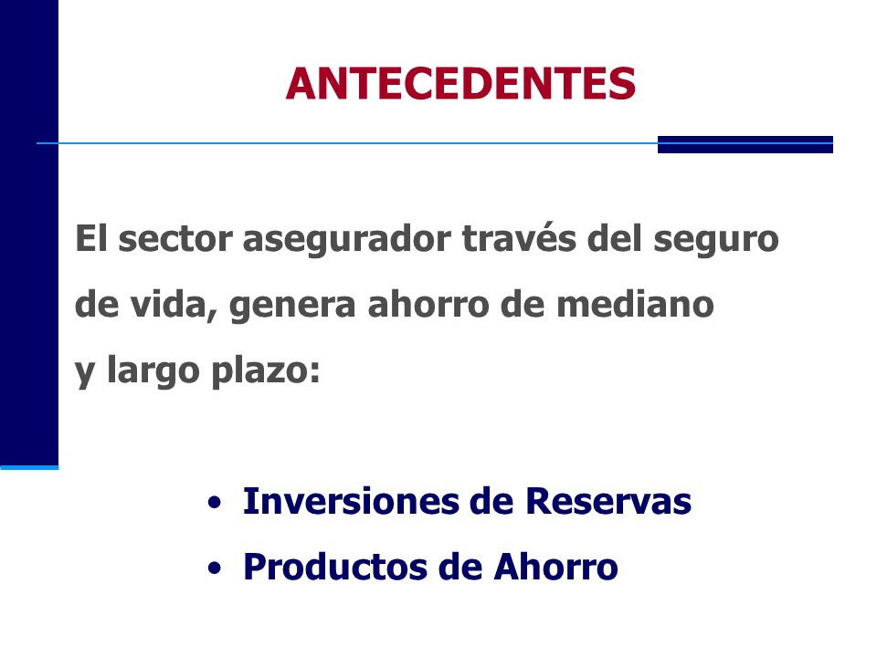 ANTECEDENTES El sector asegurador través del seguro
