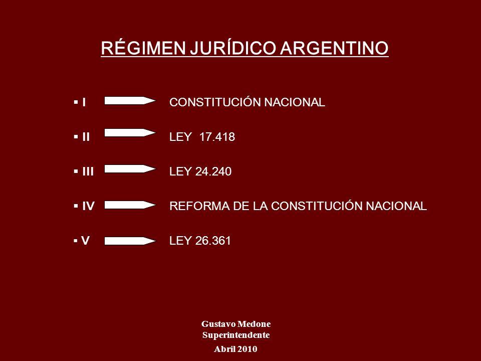 RÉGIMEN JURÍDICO ARGENTINO