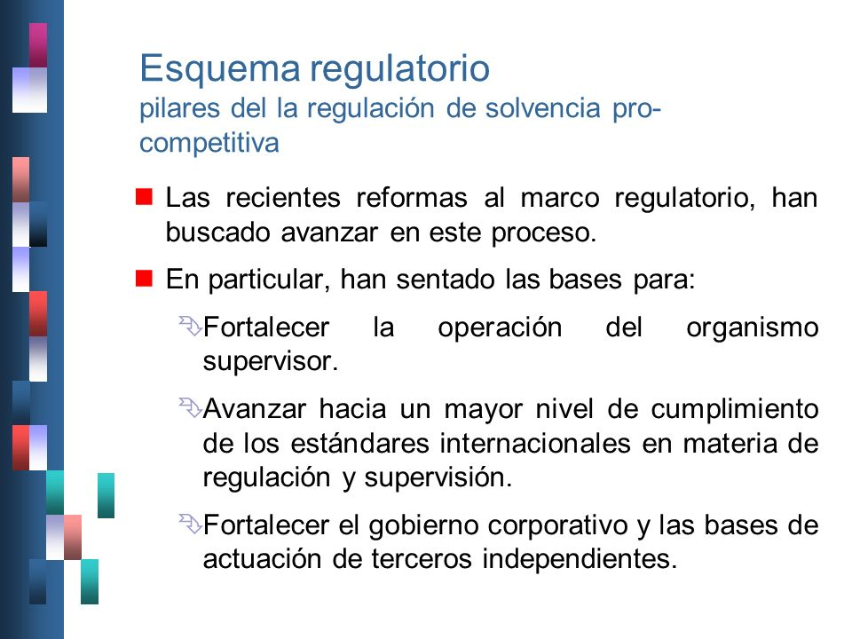 Esquema regulatorio pilares del la regulación de solvencia pro-competitiva