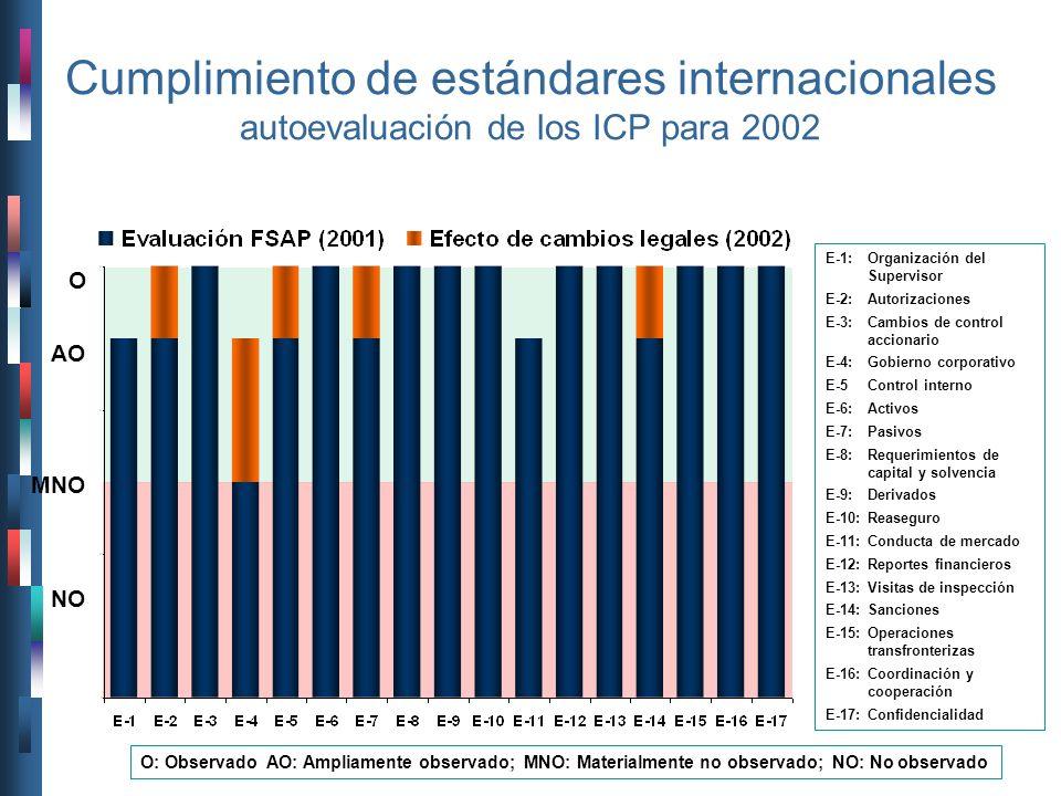 Cumplimiento de estándares internacionales autoevaluación de los ICP para 2002