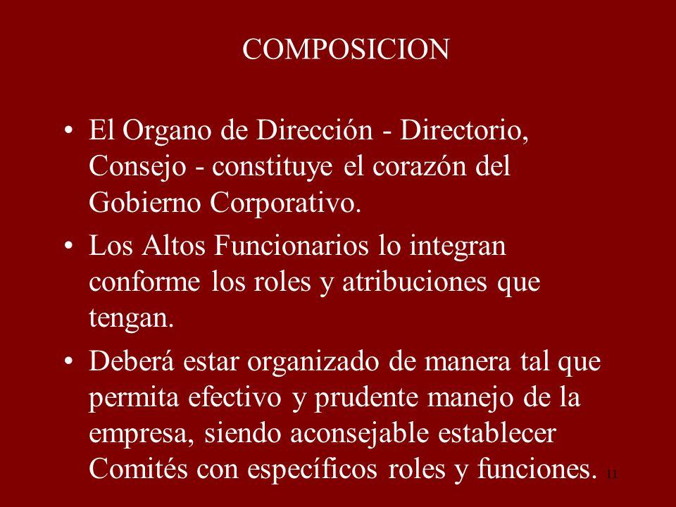 COMPOSICION El Organo de Dirección - Directorio, Consejo - constituye el corazón del Gobierno Corporativo.