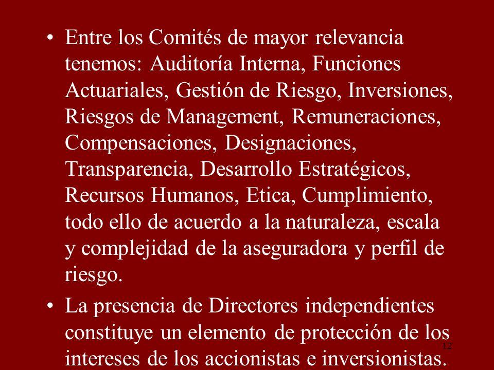 Entre los Comités de mayor relevancia tenemos: Auditoría Interna, Funciones Actuariales, Gestión de Riesgo, Inversiones, Riesgos de Management, Remuneraciones, Compensaciones, Designaciones, Transparencia, Desarrollo Estratégicos, Recursos Humanos, Etica, Cumplimiento, todo ello de acuerdo a la naturaleza, escala y complejidad de la aseguradora y perfil de riesgo.