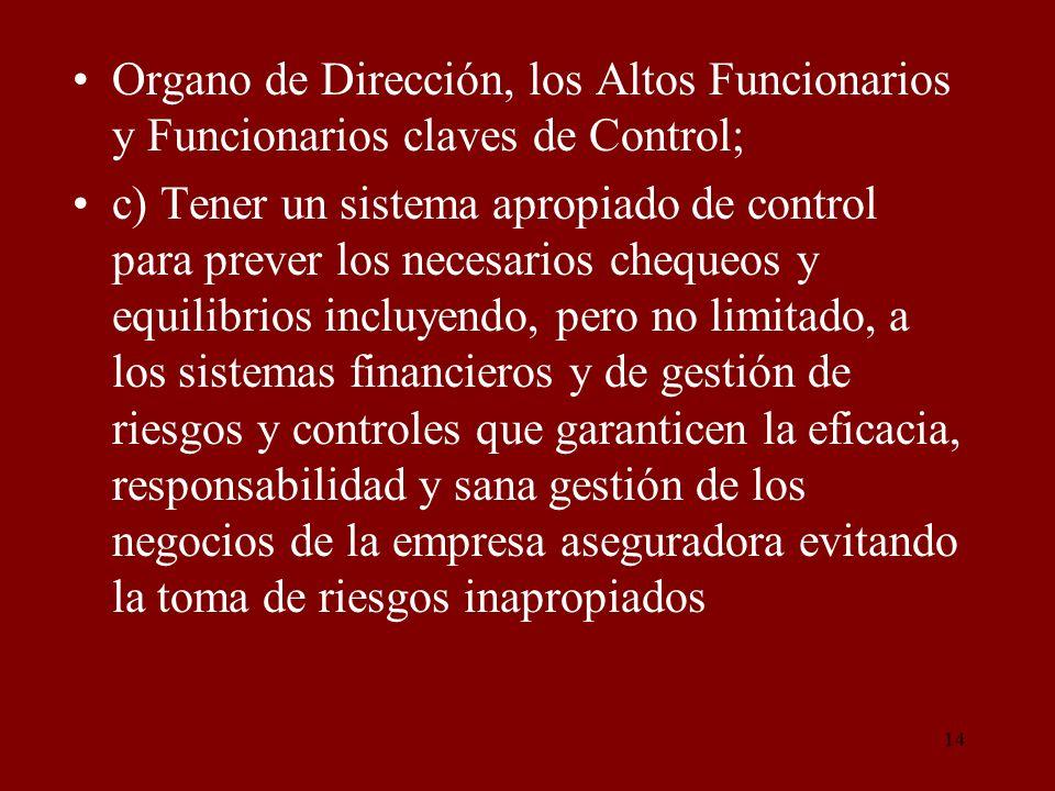 Organo de Dirección, los Altos Funcionarios y Funcionarios claves de Control;