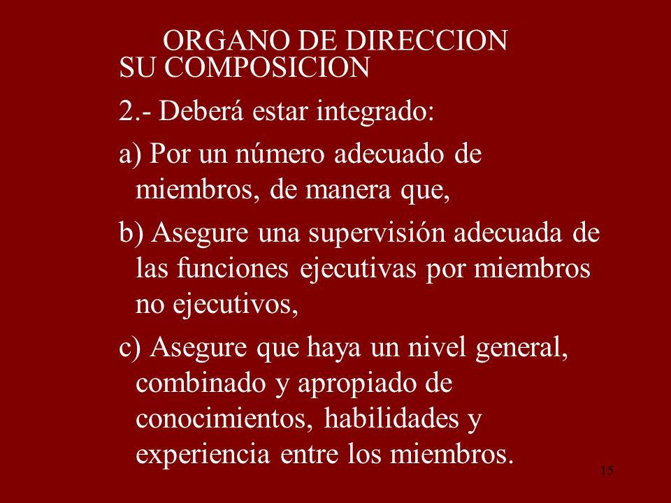 ORGANO DE DIRECCION SU COMPOSICION. 2.- Deberá estar integrado: a) Por un número adecuado de miembros, de manera que,