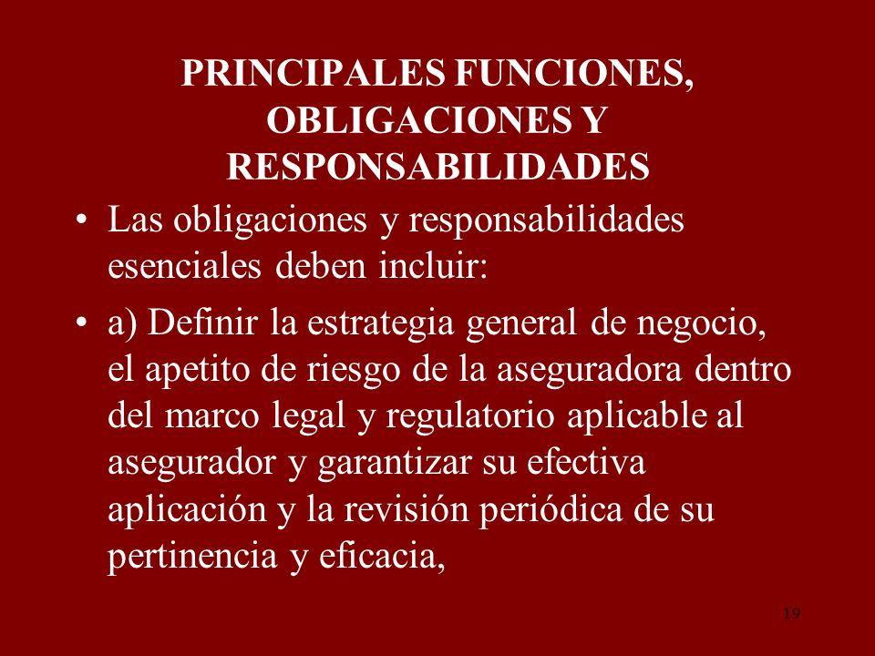 PRINCIPALES FUNCIONES, OBLIGACIONES Y RESPONSABILIDADES