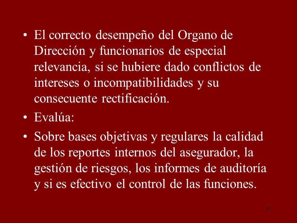 El correcto desempeño del Organo de Dirección y funcionarios de especial relevancia, si se hubiere dado conflictos de intereses o incompatibilidades y su consecuente rectificación.