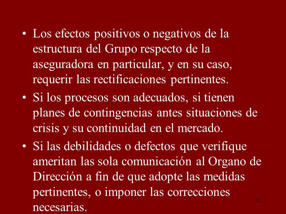 Los efectos positivos o negativos de la estructura del Grupo respecto de la aseguradora en particular, y en su caso, requerir las rectificaciones pertinentes.