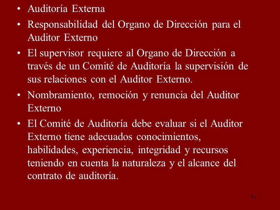 Auditoría Externa Responsabilidad del Organo de Dirección para el Auditor Externo.