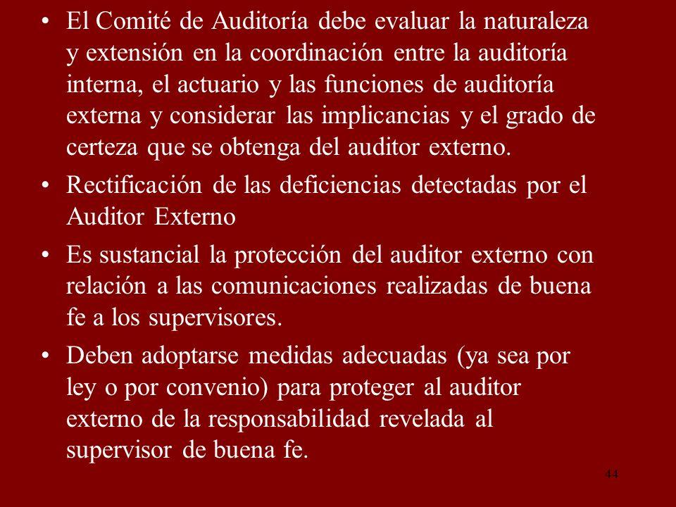 El Comité de Auditoría debe evaluar la naturaleza y extensión en la coordinación entre la auditoría interna, el actuario y las funciones de auditoría externa y considerar las implicancias y el grado de certeza que se obtenga del auditor externo.
