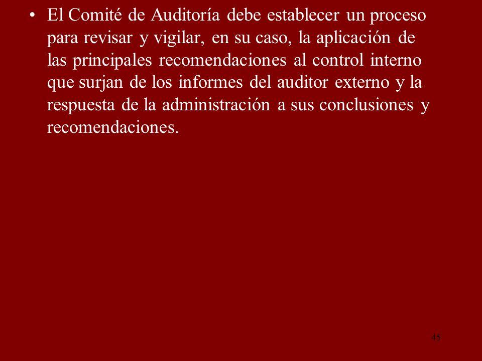 El Comité de Auditoría debe establecer un proceso para revisar y vigilar, en su caso, la aplicación de las principales recomendaciones al control interno que surjan de los informes del auditor externo y la respuesta de la administración a sus conclusiones y recomendaciones.