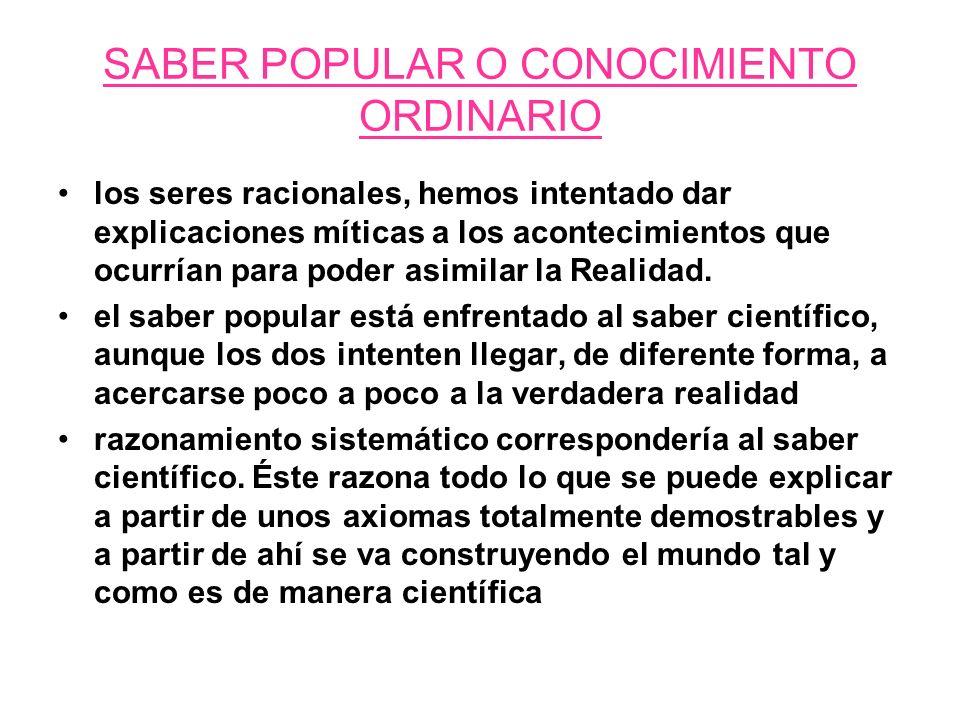 SABER POPULAR O CONOCIMIENTO ORDINARIO