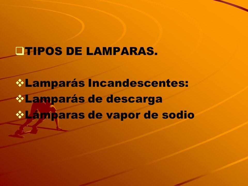 TIPOS DE LAMPARAS. Lamparás Incandescentes: Lamparás de descarga Lámparas de vapor de sodio