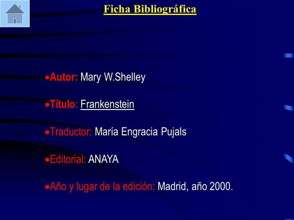 Ficha Bibliográfica Autor: Mary W.Shelley. Título: Frankenstein. Traductor: María Engracia Pujals.