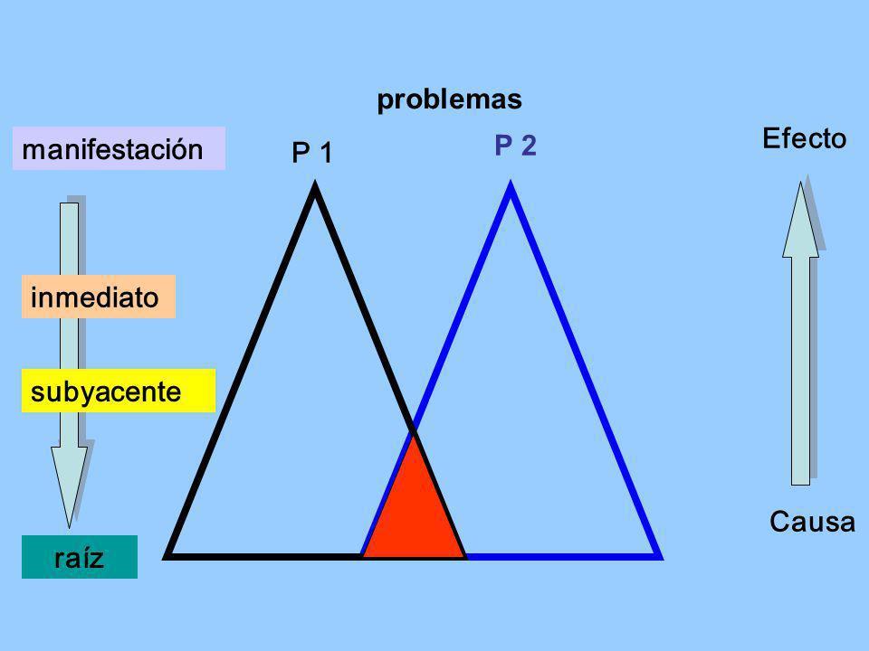 problemas Efecto manifestación P 2 P 1 inmediato subyacente Causa raíz