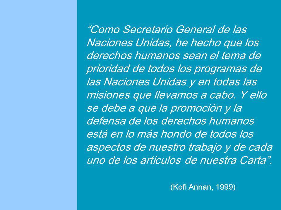 Como Secretario General de las Naciones Unidas, he hecho que los derechos humanos sean el tema de prioridad de todos los programas de las Naciones Unidas y en todas las misiones que llevamos a cabo.
