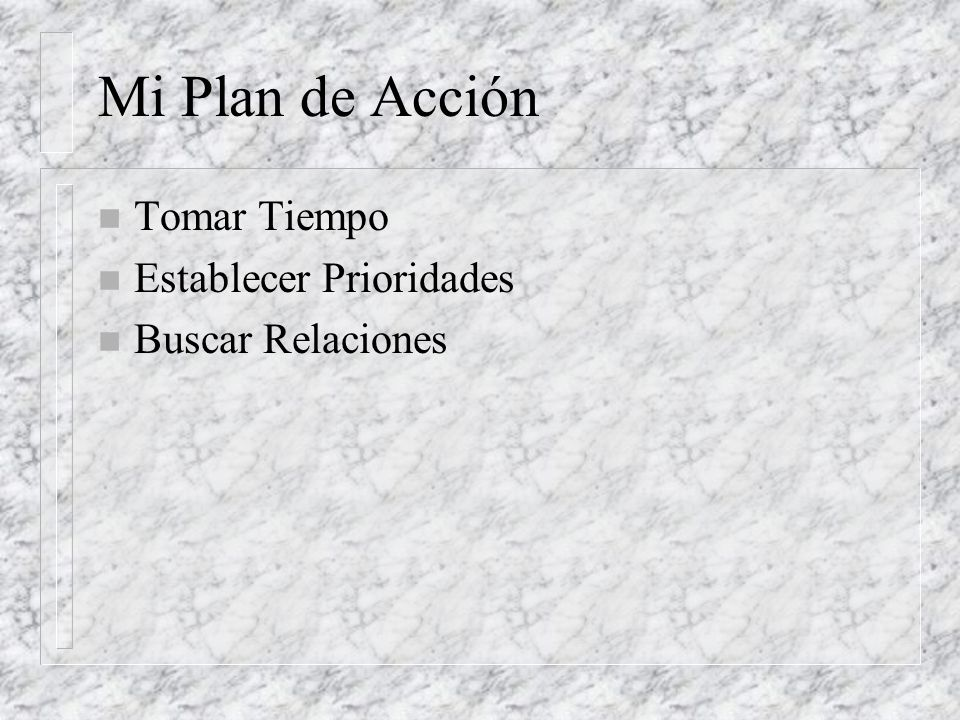 Mi Plan de Acción Tomar Tiempo Establecer Prioridades