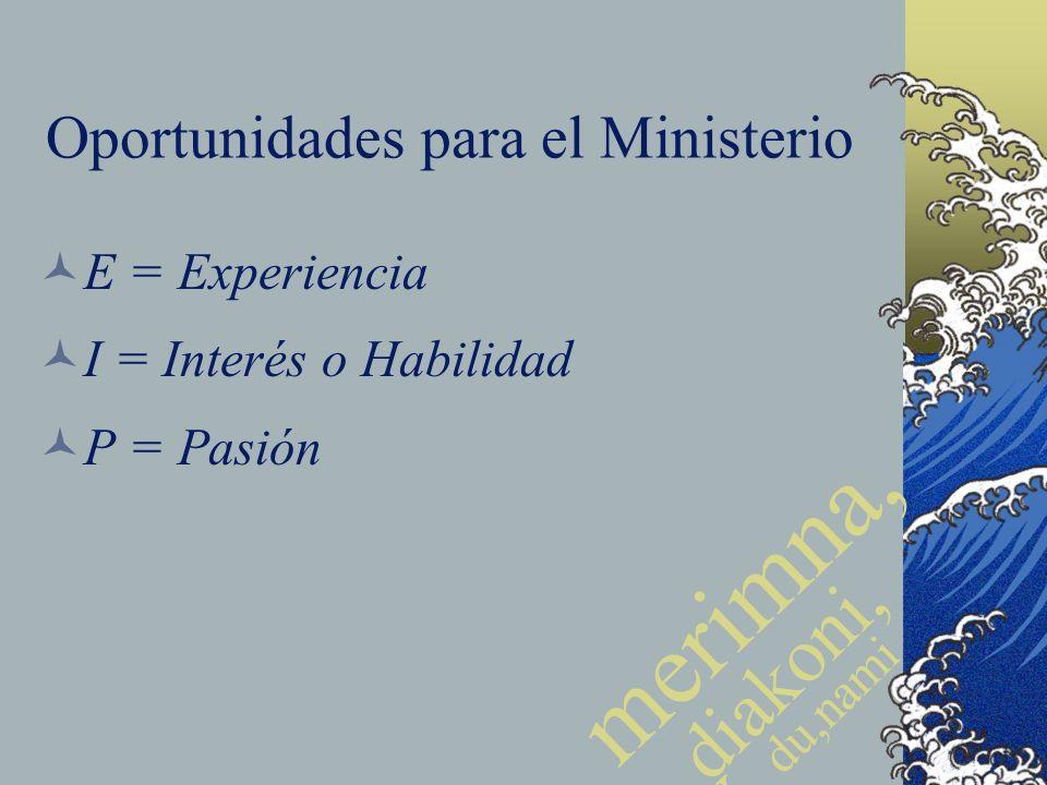 Oportunidades para el Ministerio