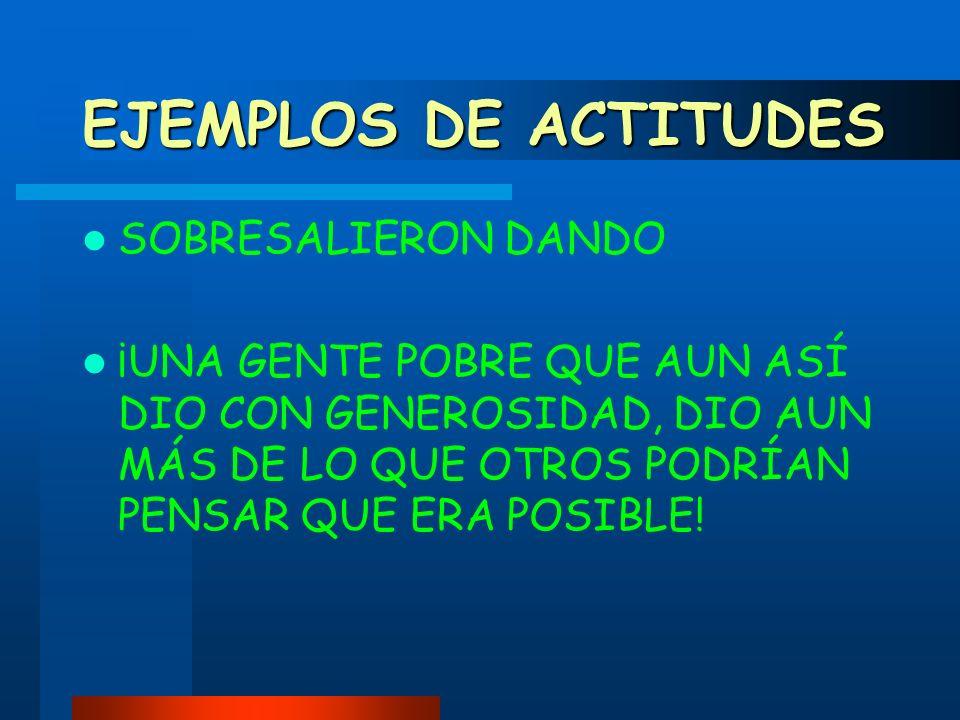 EJEMPLOS DE ACTITUDES SOBRESALIERON DANDO