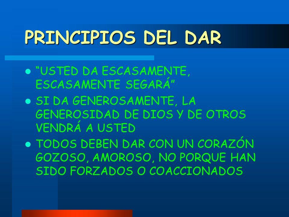 PRINCIPIOS DEL DAR USTED DA ESCASAMENTE, ESCASAMENTE SEGARÁ