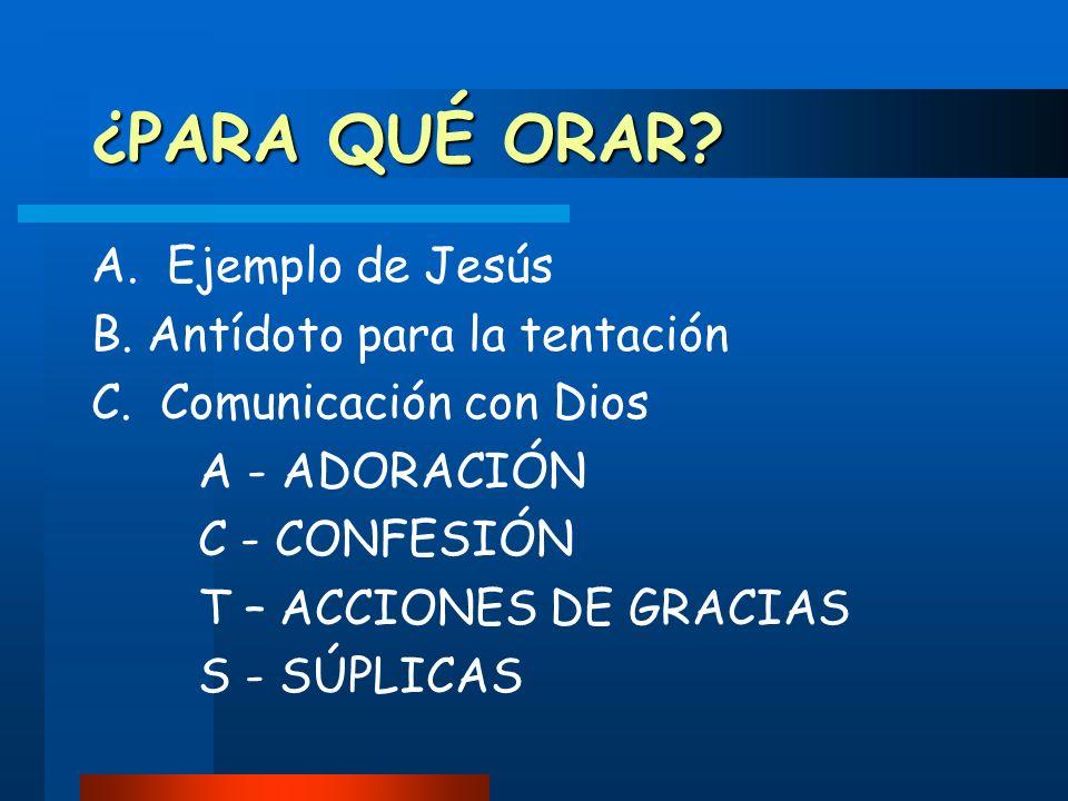 ¿PARA QUÉ ORAR A. Ejemplo de Jesús B. Antídoto para la tentación