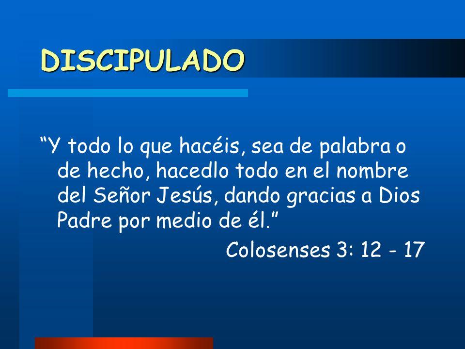 DISCIPULADO Y todo lo que hacéis, sea de palabra o de hecho, hacedlo todo en el nombre del Señor Jesús, dando gracias a Dios Padre por medio de él.