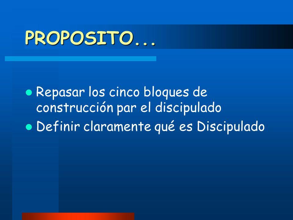 PROPOSITO... Repasar los cinco bloques de construcción par el discipulado.