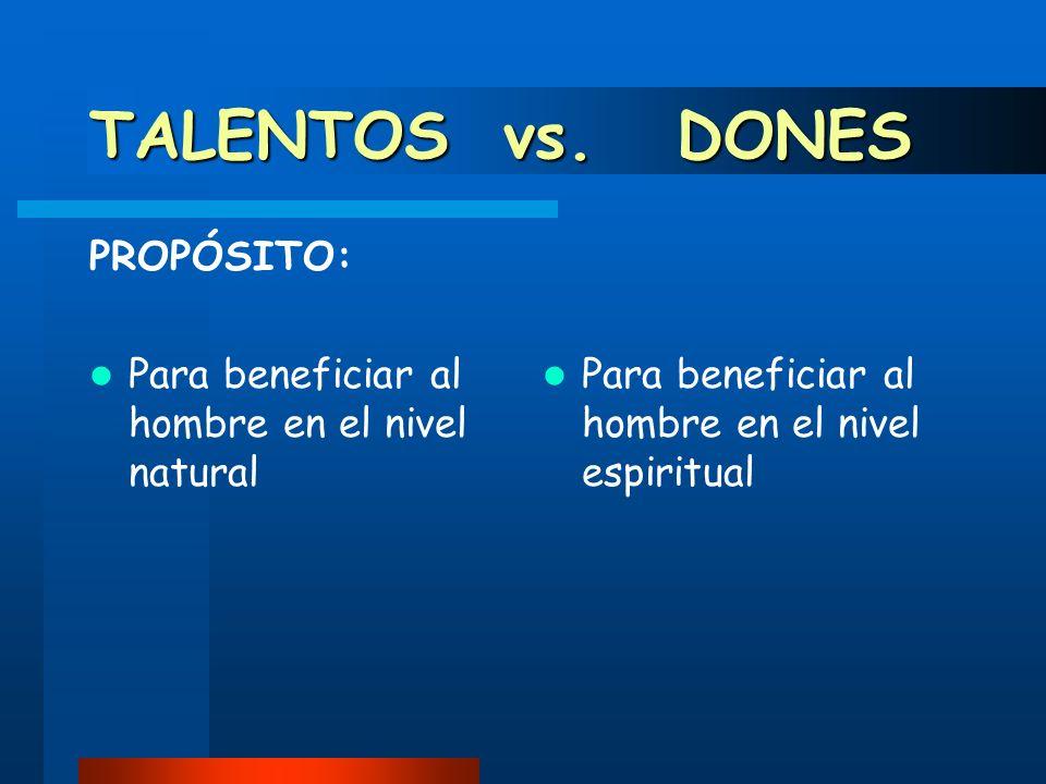 TALENTOS vs. DONES PROPÓSITO: