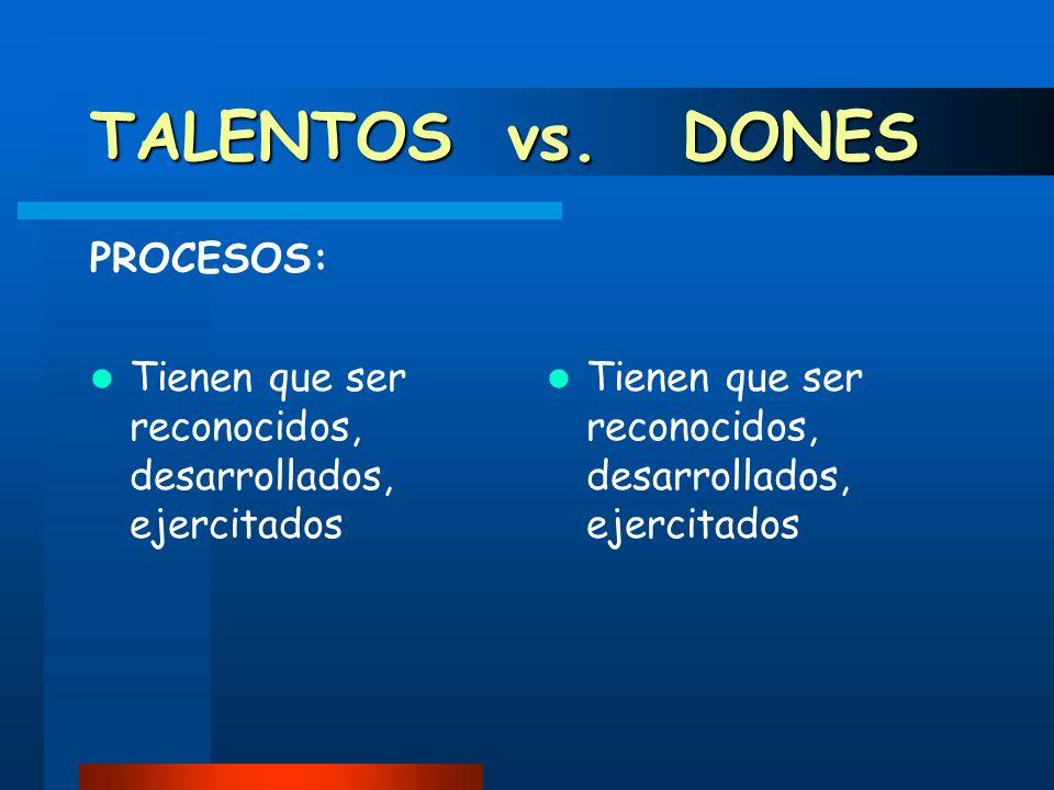 TALENTOS vs. DONES PROCESOS: