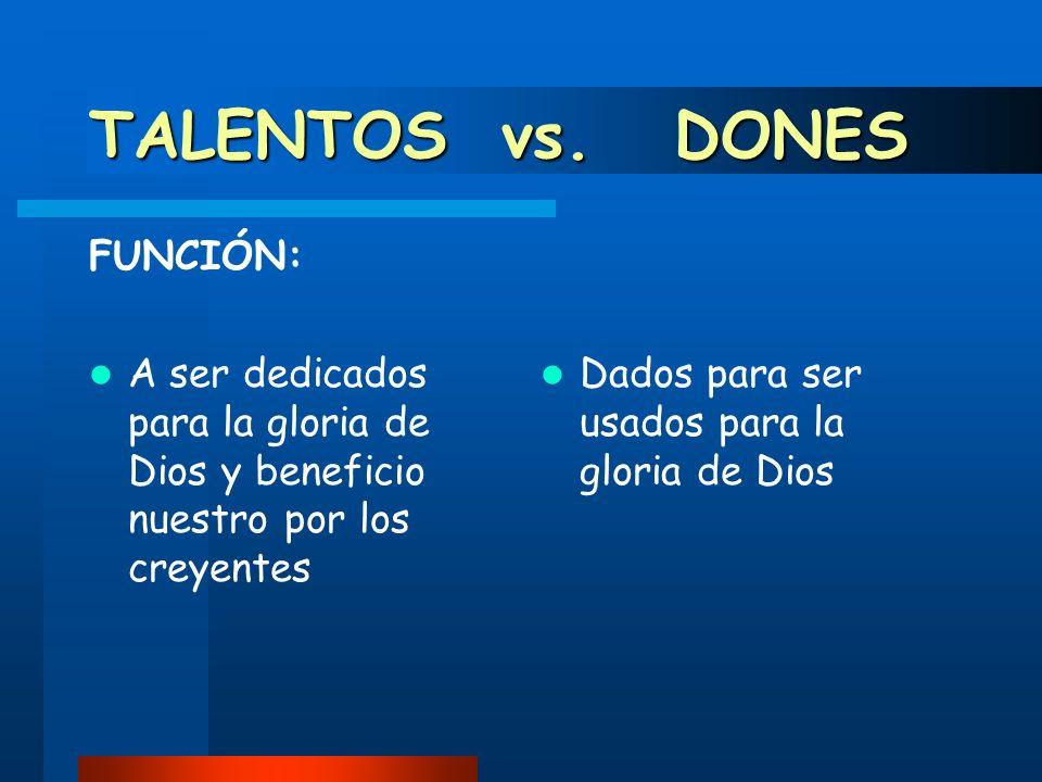 TALENTOS vs. DONES FUNCIÓN: