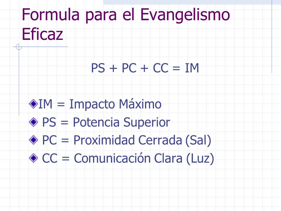 Formula para el Evangelismo Eficaz