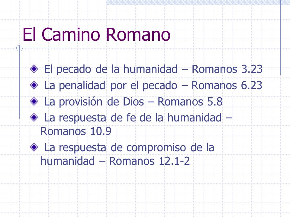 El Camino Romano El pecado de la humanidad – Romanos 3.23