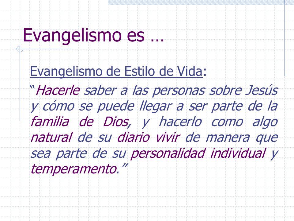 Evangelismo es … Evangelismo de Estilo de Vida:
