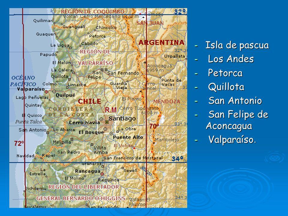 Isla de pascua Los Andes Petorca Quillota San Antonio San Felipe de Aconcagua Valparaíso.