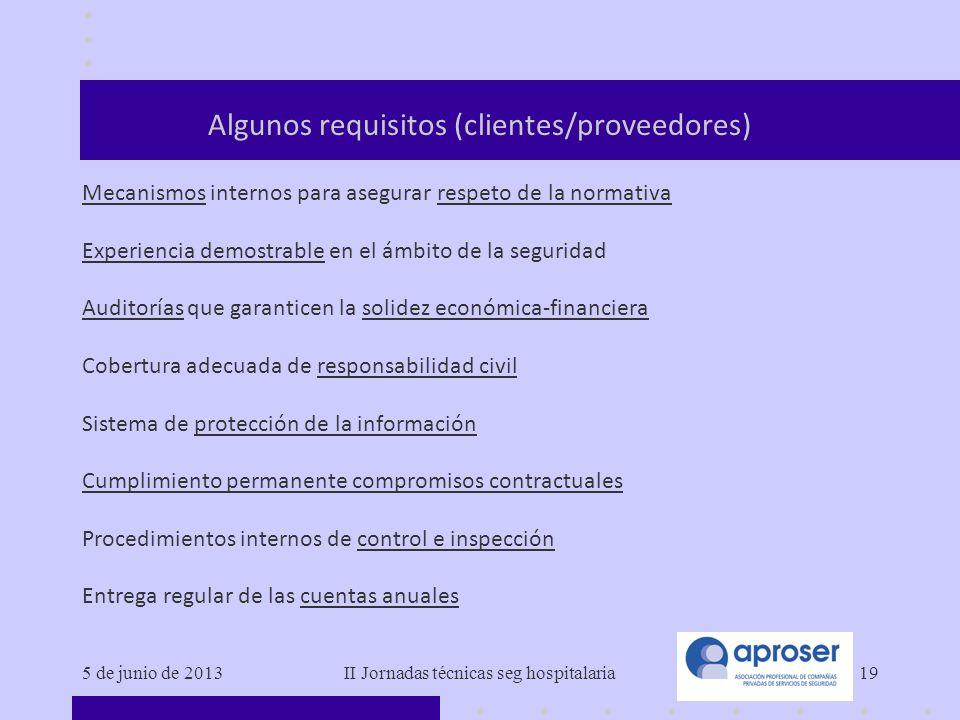 Algunos requisitos (clientes/proveedores)