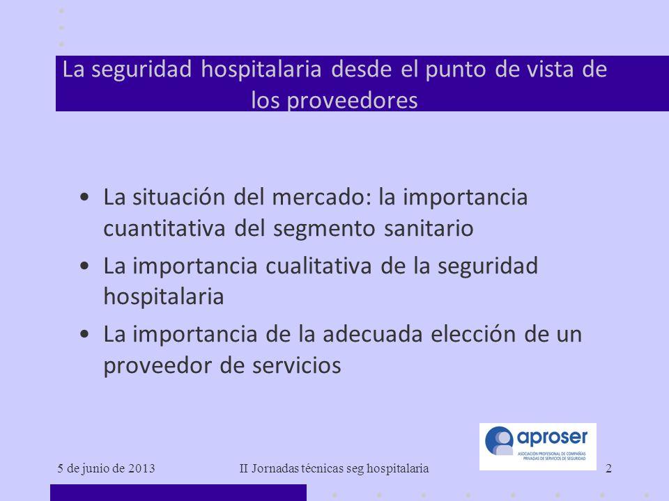 La seguridad hospitalaria desde el punto de vista de los proveedores
