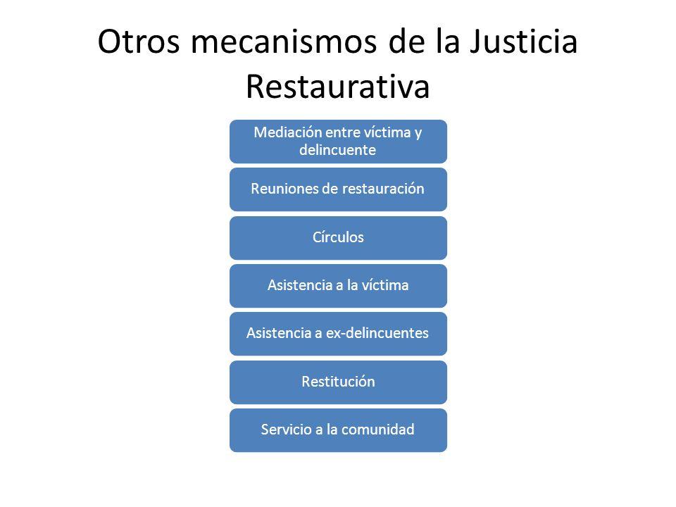 Otros mecanismos de la Justicia Restaurativa