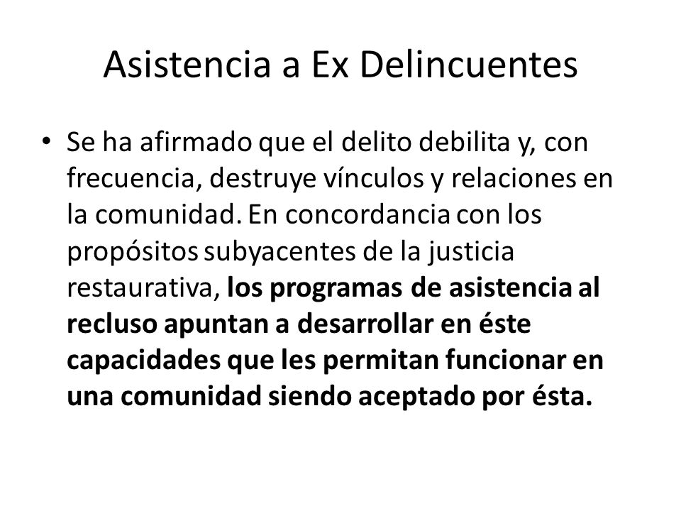 Asistencia a Ex Delincuentes