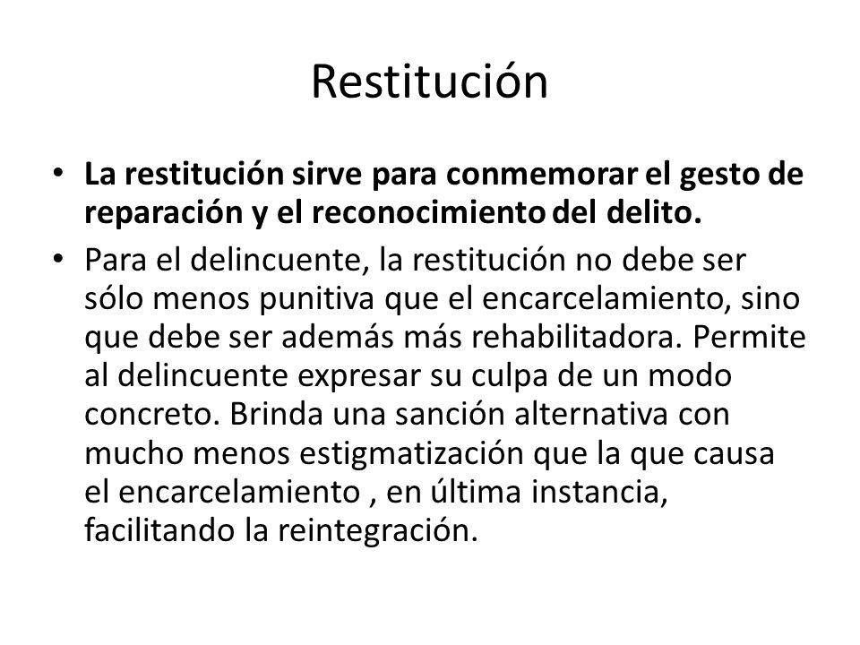Restitución La restitución sirve para conmemorar el gesto de reparación y el reconocimiento del delito.
