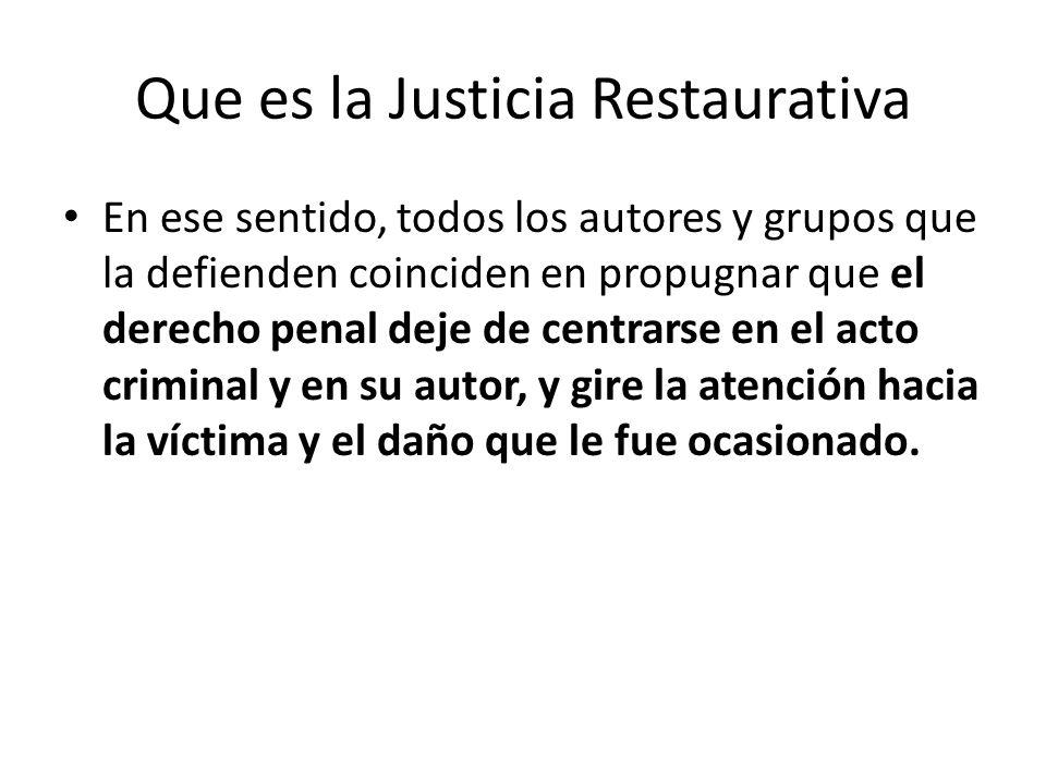 Que es la Justicia Restaurativa