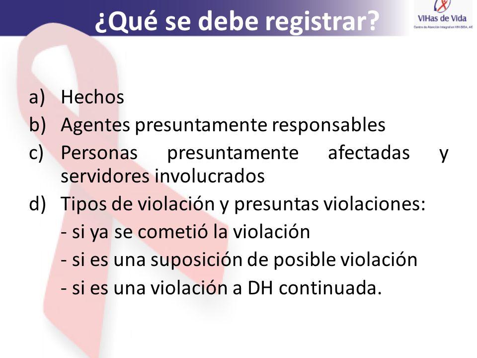 ¿Qué se debe registrar Hechos Agentes presuntamente responsables