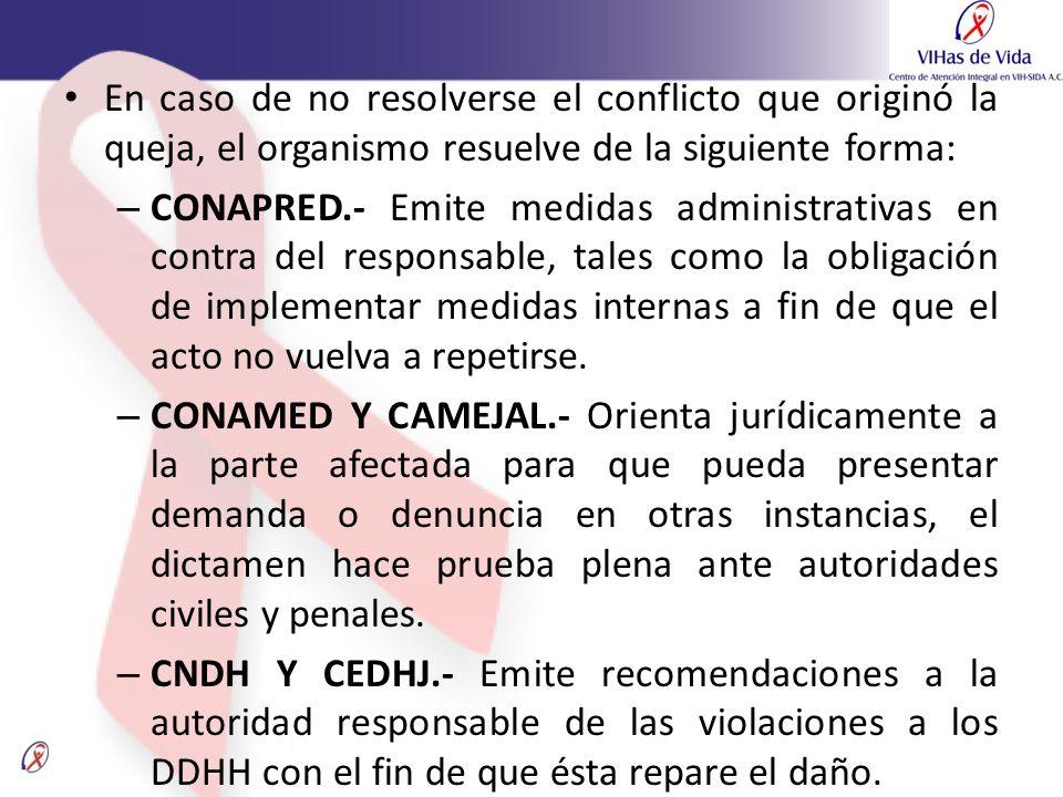 En caso de no resolverse el conflicto que originó la queja, el organismo resuelve de la siguiente forma: