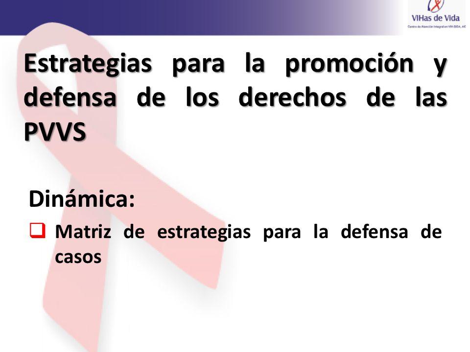 Estrategias para la promoción y defensa de los derechos de las PVVS