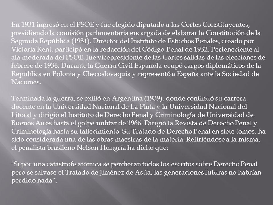 En 1931 ingresó en el PSOE y fue elegido diputado a las Cortes Constituyentes, presidiendo la comisión parlamentaria encargada de elaborar la Constitución de la Segunda República (1931).